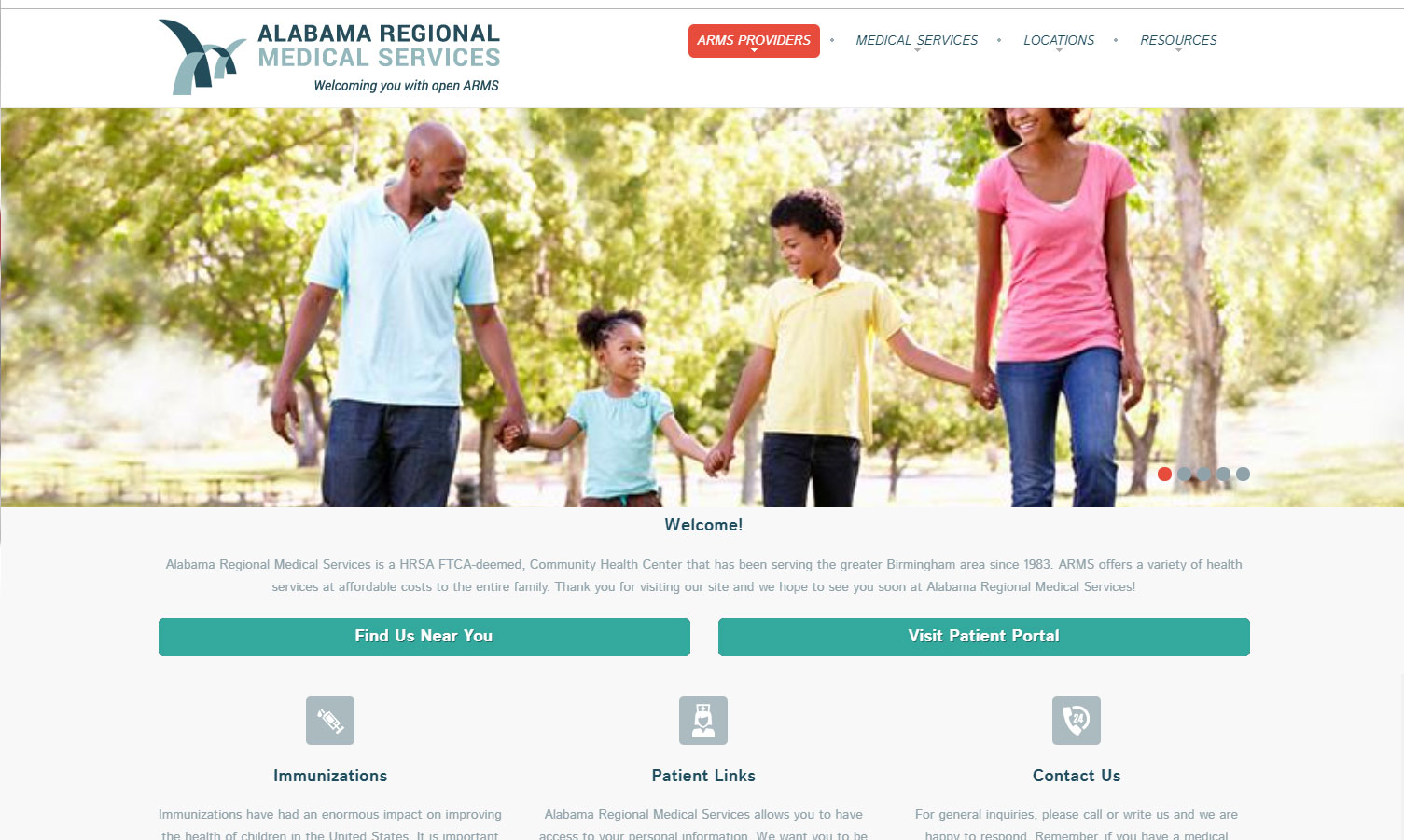 Homepage of Alabama ARMS
