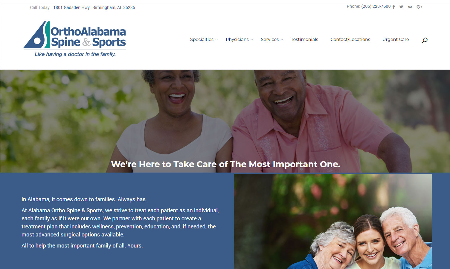 Homepage of OrthoAlabama Spine & Sport