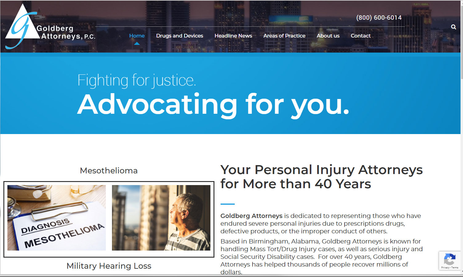 Homepage of Goldberg Attorneys