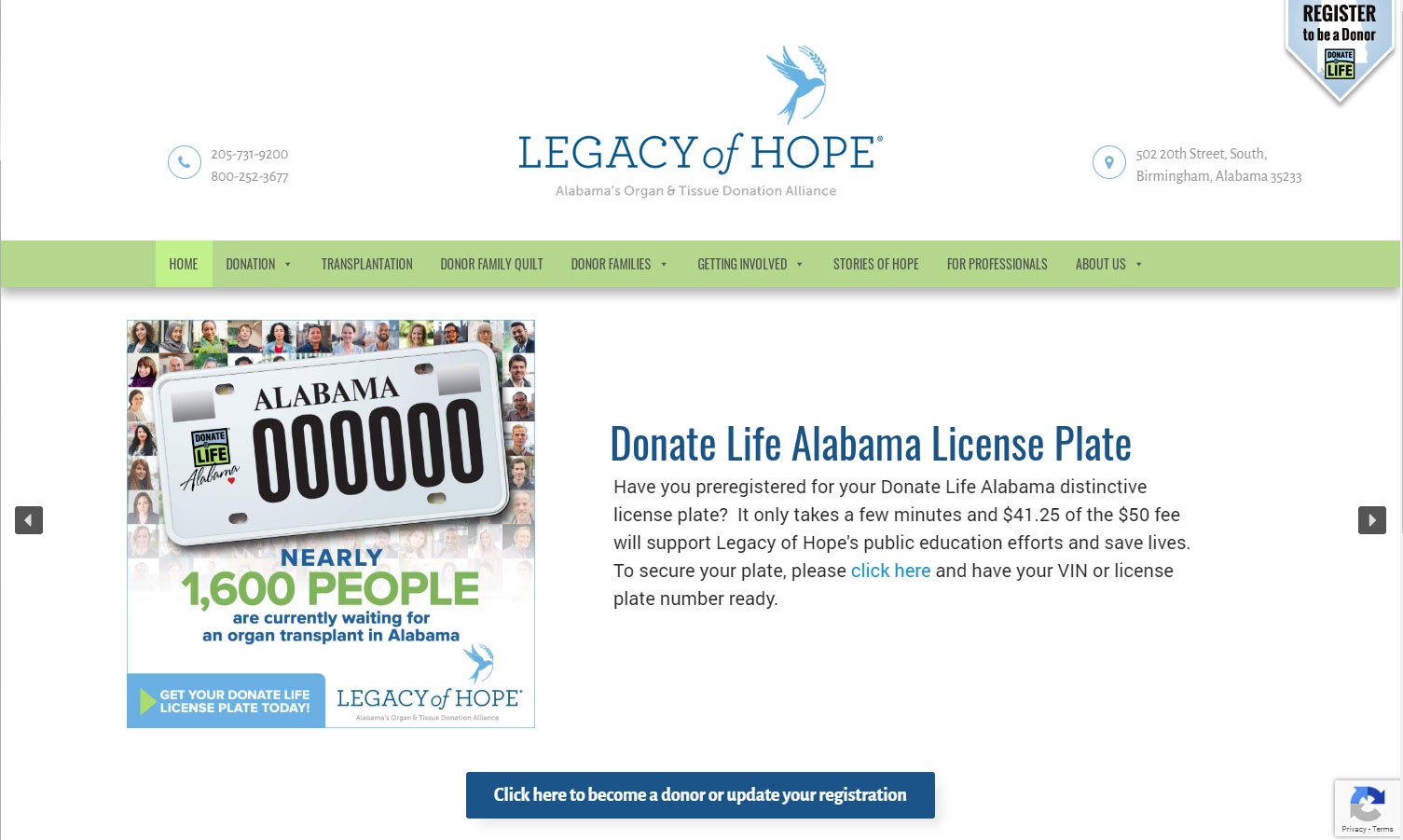 Homepage of Legacy of Hope