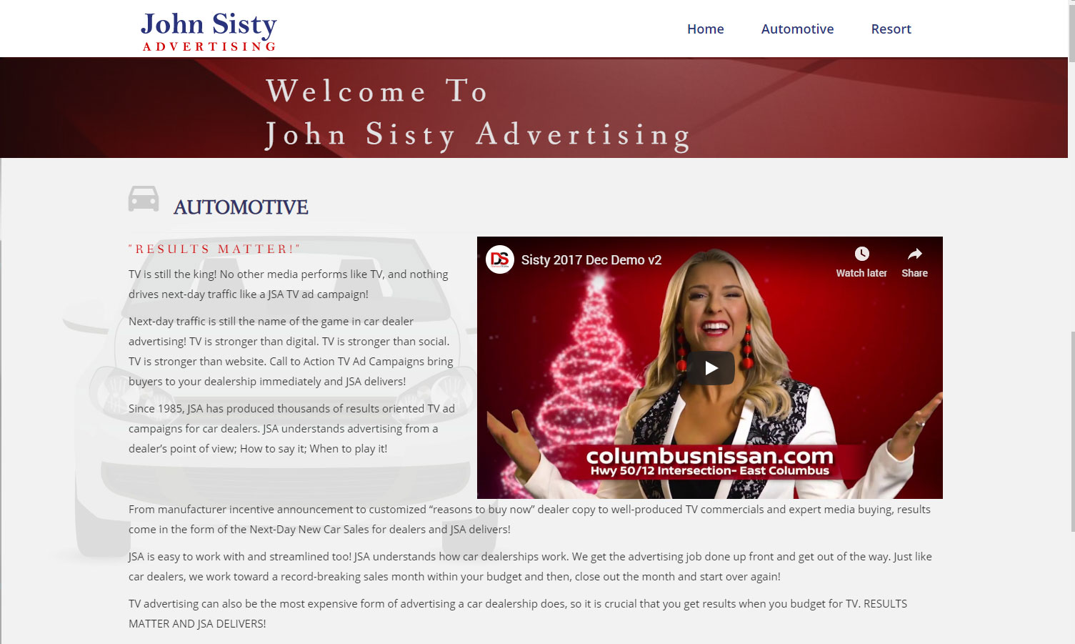 Homepage of John Sisty Advertising