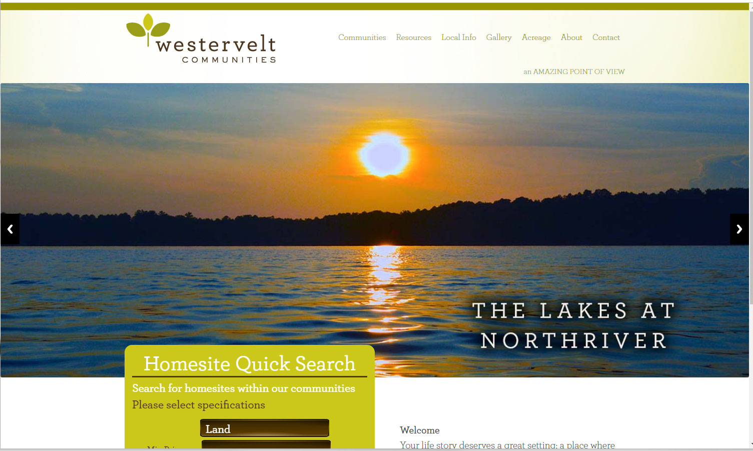 Homepage of  Westervelt Communities